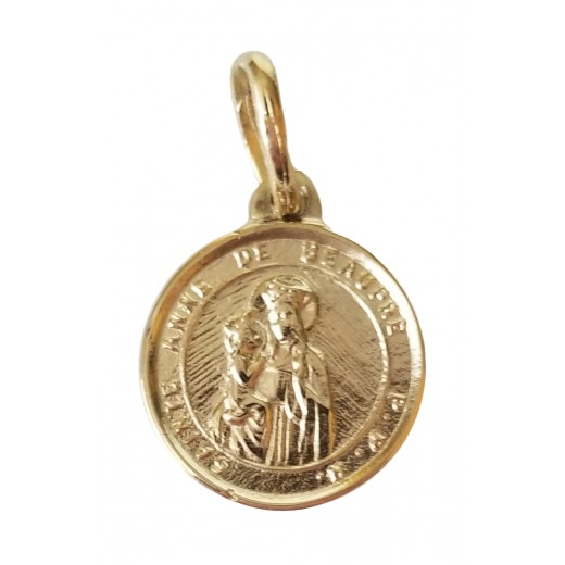 10 kt gold St. Anne medal 0 35/64 inches