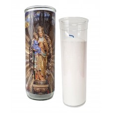 Vigil lantern glass cylinder with recharge - Radiant St. Anne