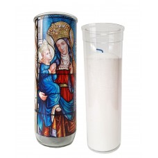 Vigil lantern glass cylinder with recharge - St. Anne stained glass