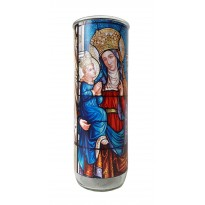 Vigil lantern glass cylinder - St. Anne stained glass