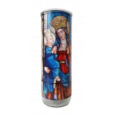 Vigil lantern glass cylinder - St. Anne stained glass