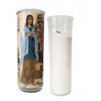 Vigil lantern glass cylinder with recharge - Kateri Tekakwitha