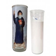 Vigil lantern glass cylinder with recharge - St-Charbel