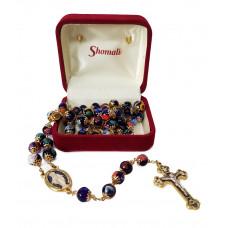 Mosaic rosary made of sapphire blue Murano glass
