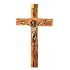 Olive wood Crucifix - tint of brass Christ corpus