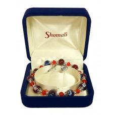Single decade rosary bracelet burgundy Murano glass
