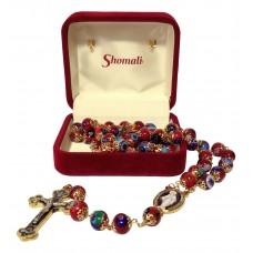 Burgundy Murano glass rosary - mosaic pattern