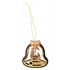 Olive wood bell shaped ornament - The Nativity