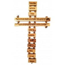 Olive wood cross engraved with the Our Father prayer in French