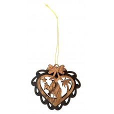 Christmas heart shaped ornament - Flight to Egypt - olive wood