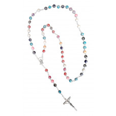 Rosary multicolored beads - silvery tint corpus