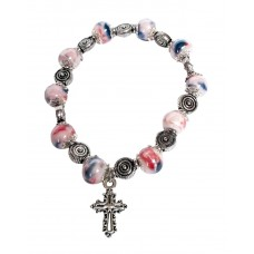 Single decade rosary bracelet - pink pearly beads with cross