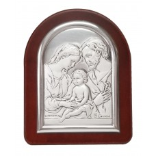 The Holy family mini silver frame