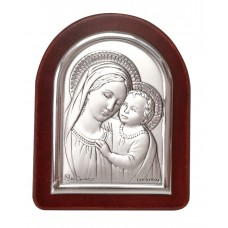 Madonna and Child mini silver frame