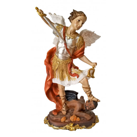 St. Michael the Archangel colored statue - 12 inches