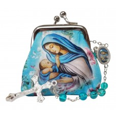 Madona and child rosary case & Rosary