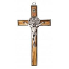 St. Benoît crucifix metal/olive wood
