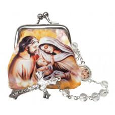 Holy family rosary case & rosary