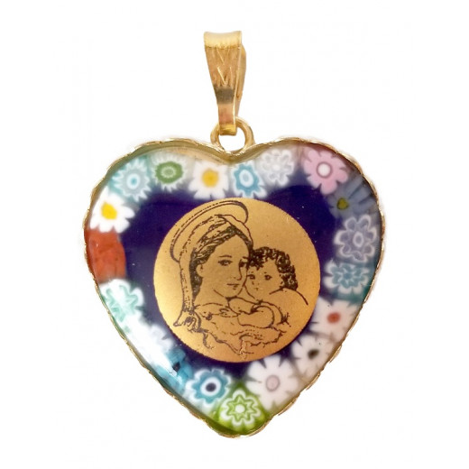 Pendant-medal heart shaped Madonna and Child Murano glass